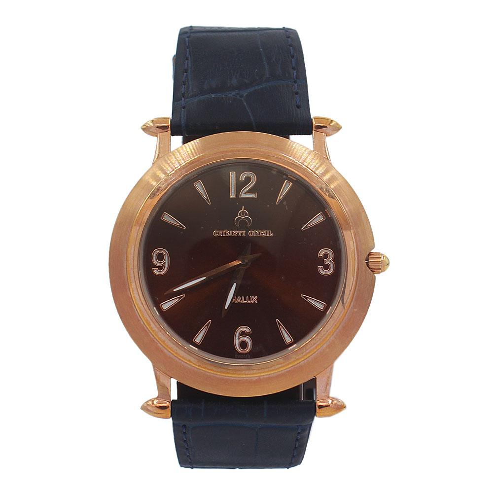Navy Rose Gold Santiago Leather Flat Watch