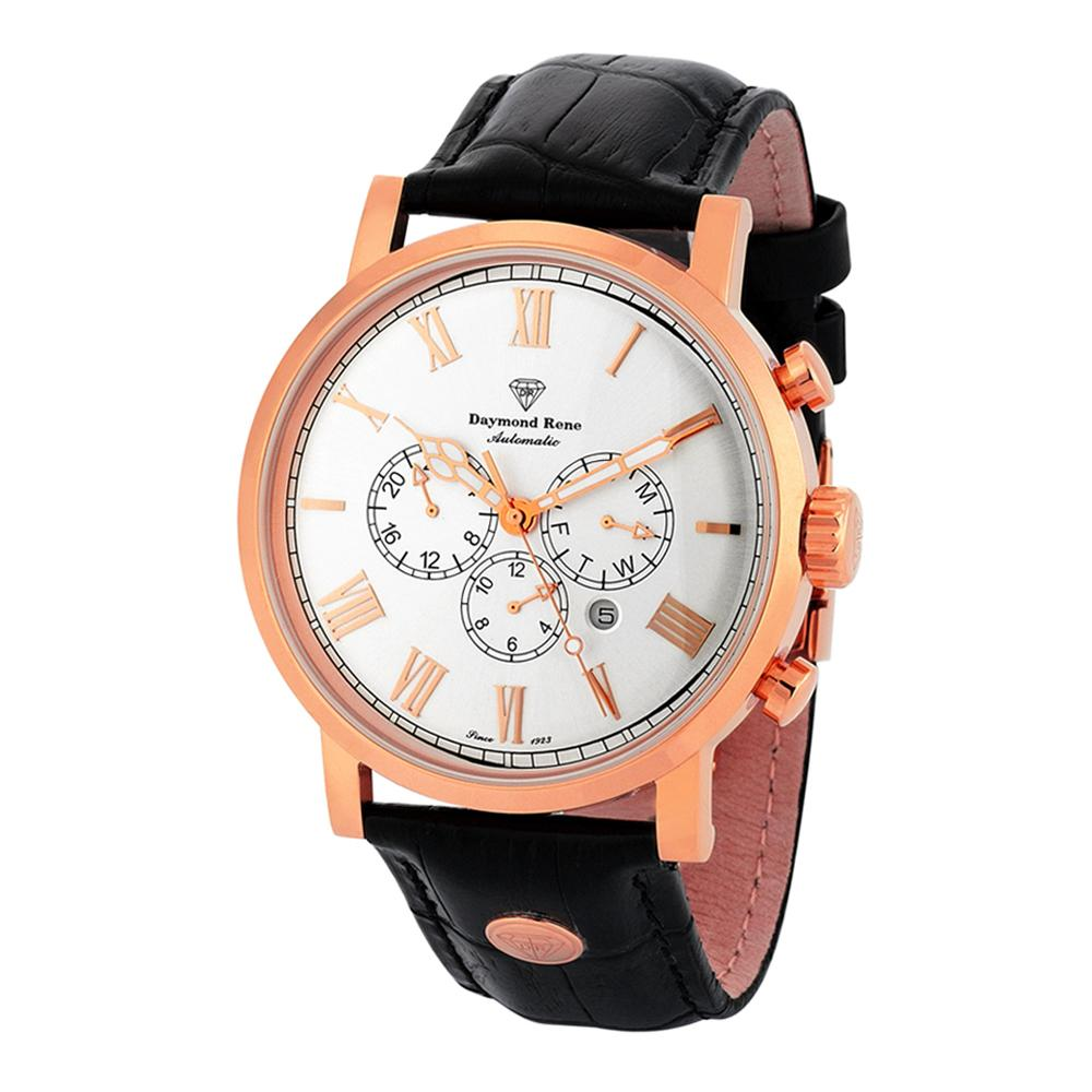 Black Rose Gold Leather Automatic Watch