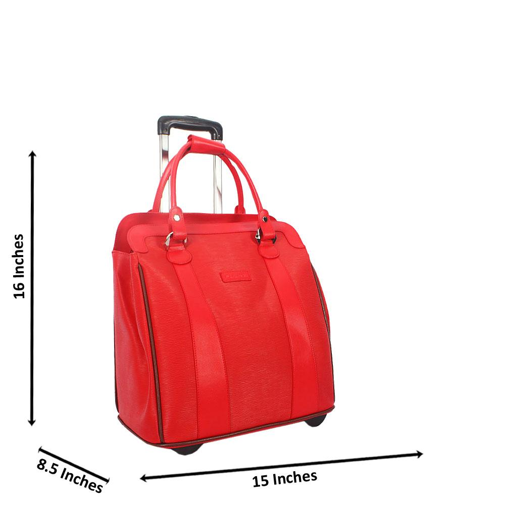 Red 16 Inch Leather Carry On Hand Luggage