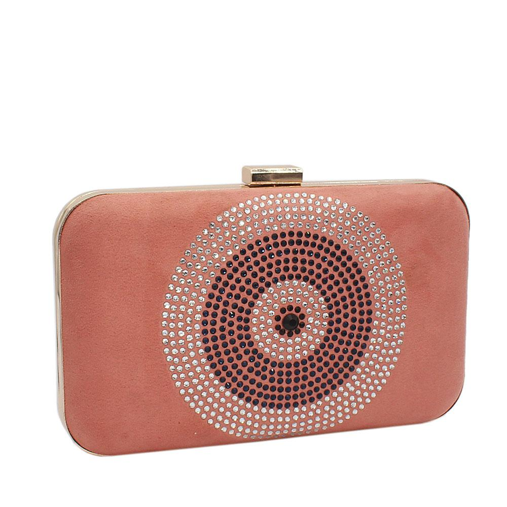 Pink Studded Suede Leather Clutch Purse