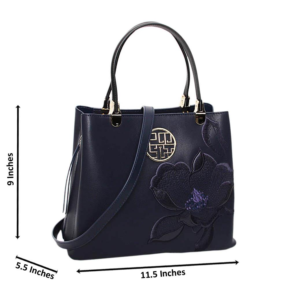 Navy Blue Nessa Premium Leather Medium Handbag