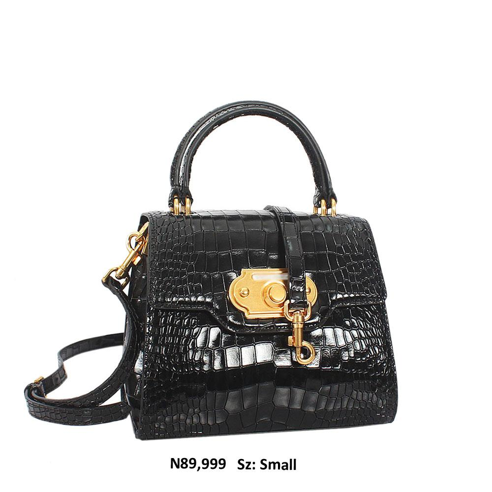 Black Taryn Croc Leather Top Handle Handbag
