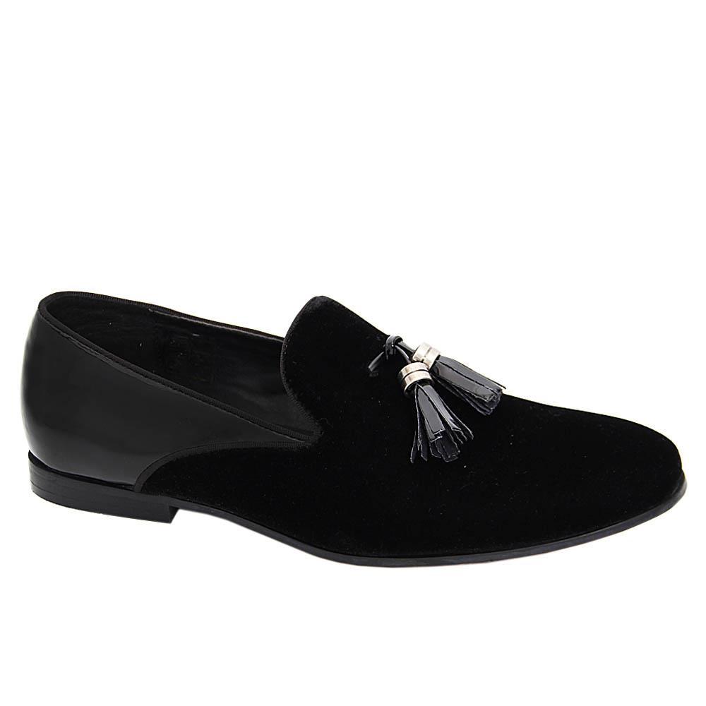 K Geiger Black Dustin Velour Patent Leather Tassel Loafers