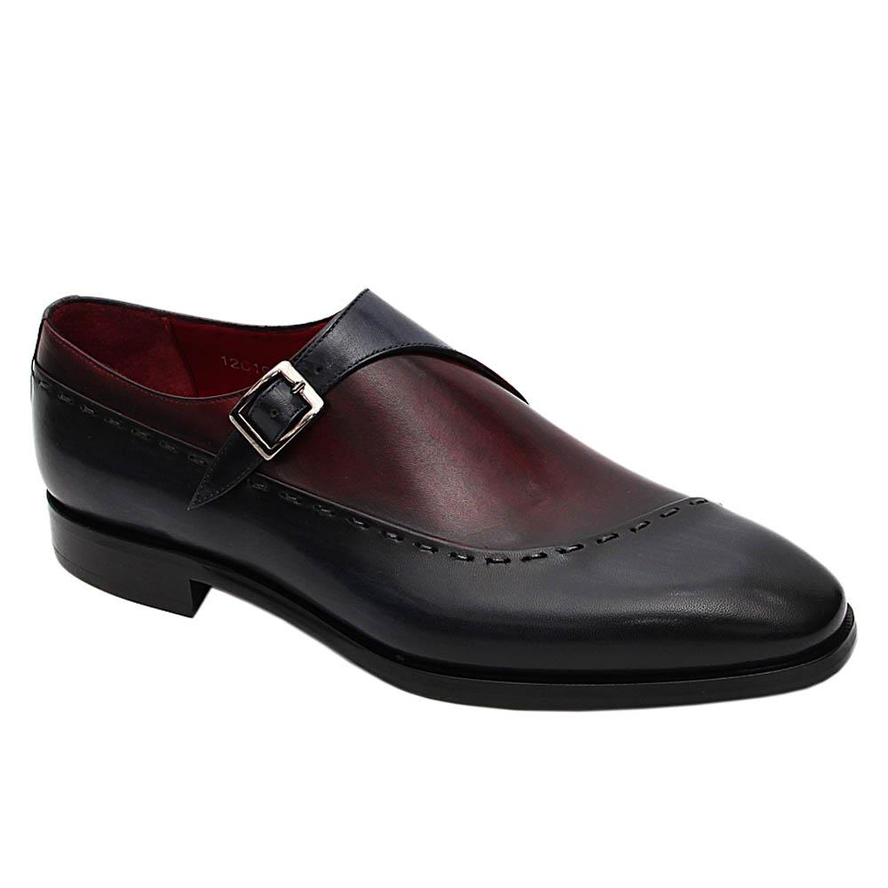 Navy Wine Thiago Italian Leather Monk Strap Loafers