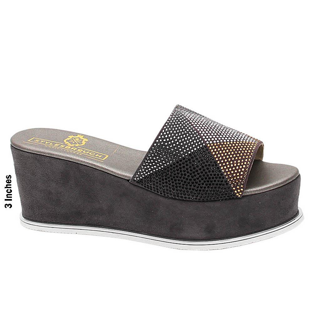 Grey Giovanna Studded Suede Leather Wedge Heel