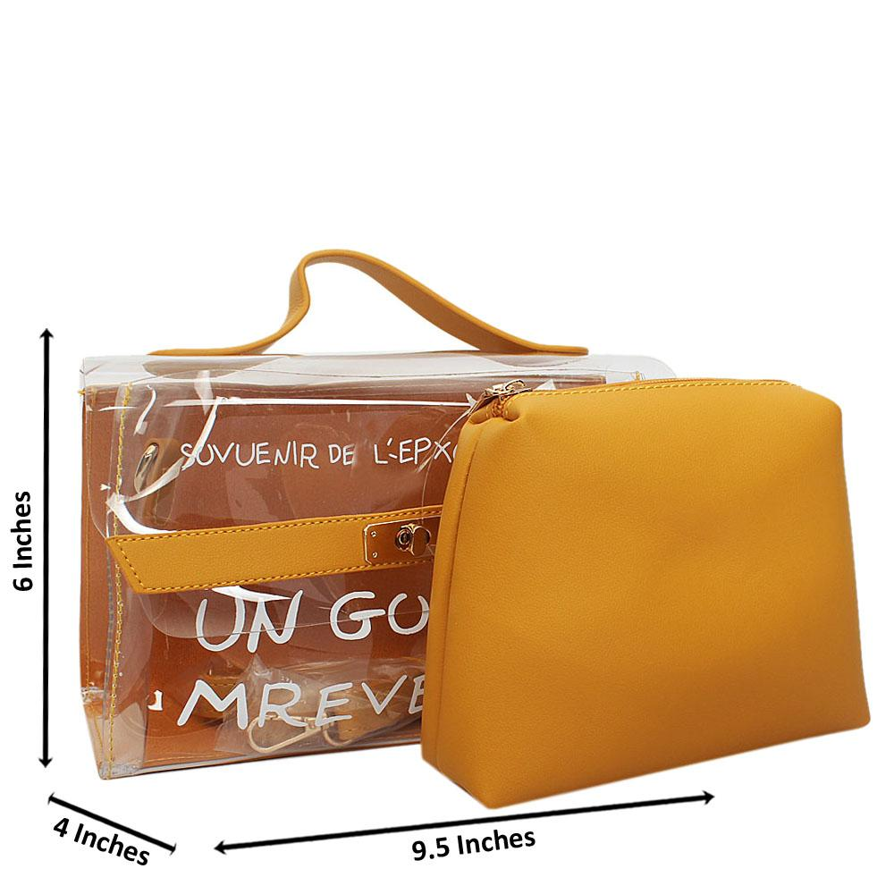 Yellow Transparent Rubber Leather Small Top Handle Handbag
