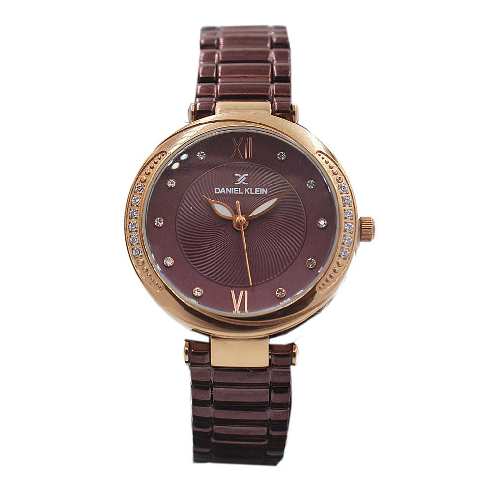 Daniel Klein Classic Purple Studded Stainless steel Ladies Watch