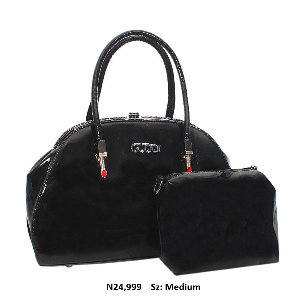 Black Patent Leather Tote Handbag