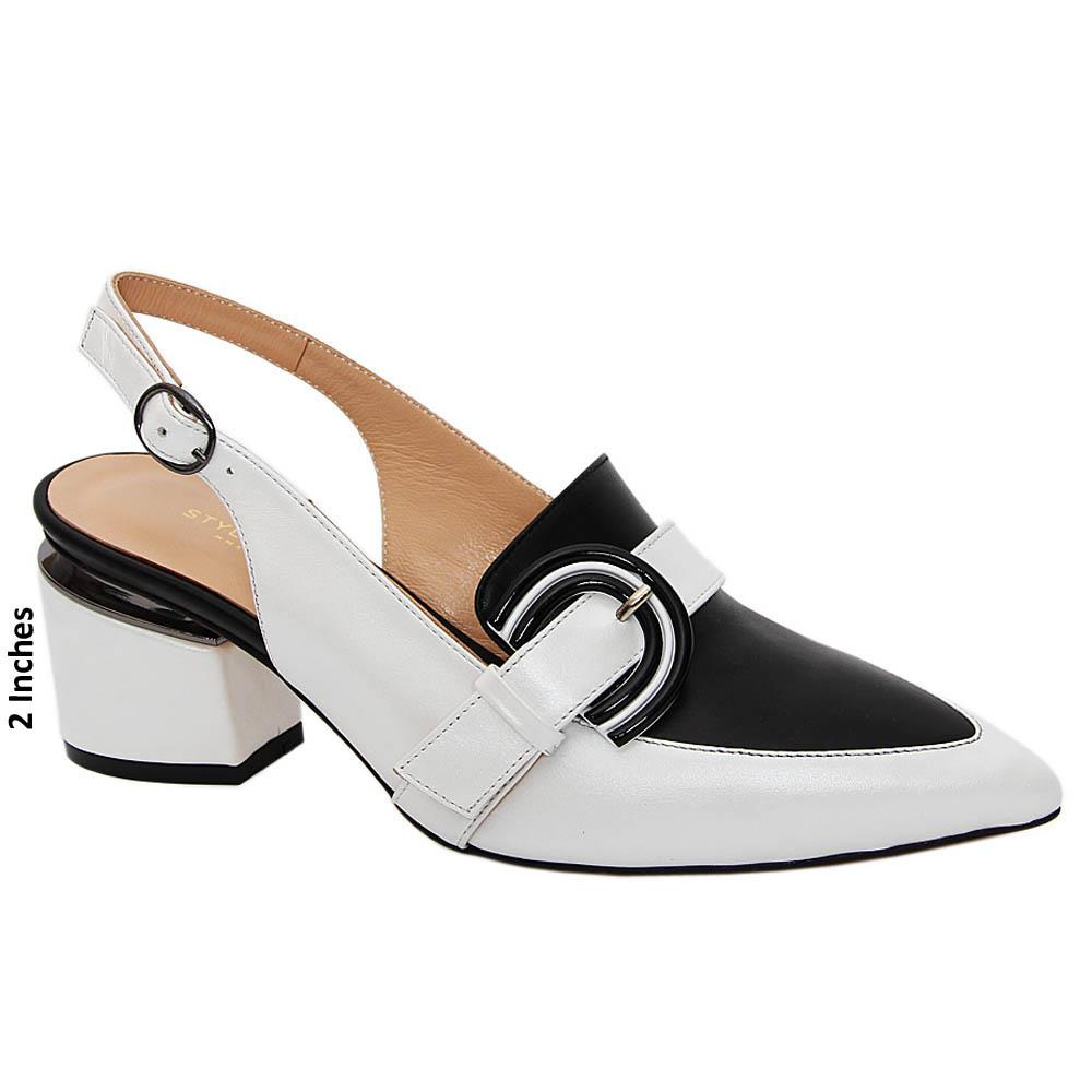 White Black Laura Tuscany Leather High Heel Slingback Pumps