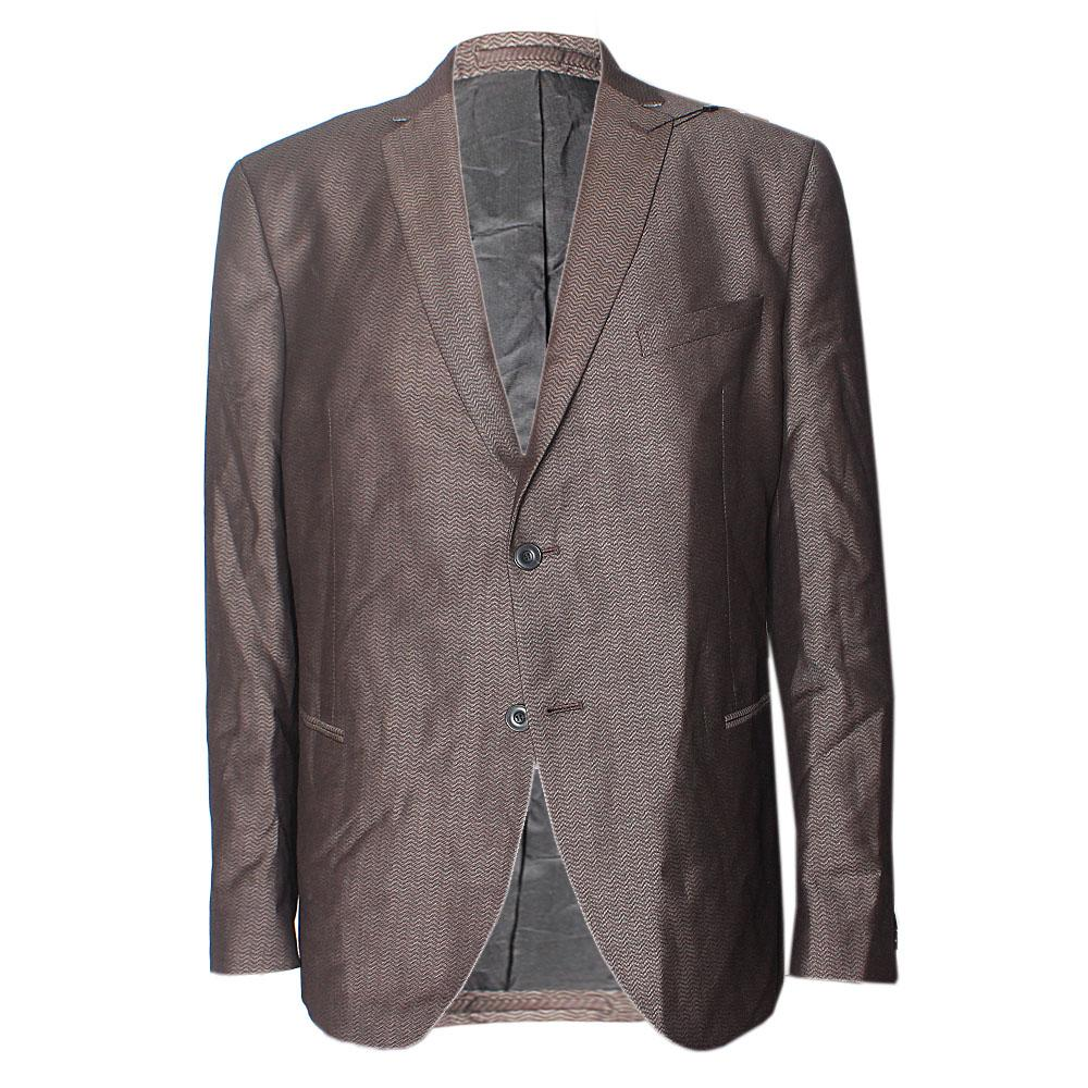 Brown Cotton Regular Fit Men Jacket