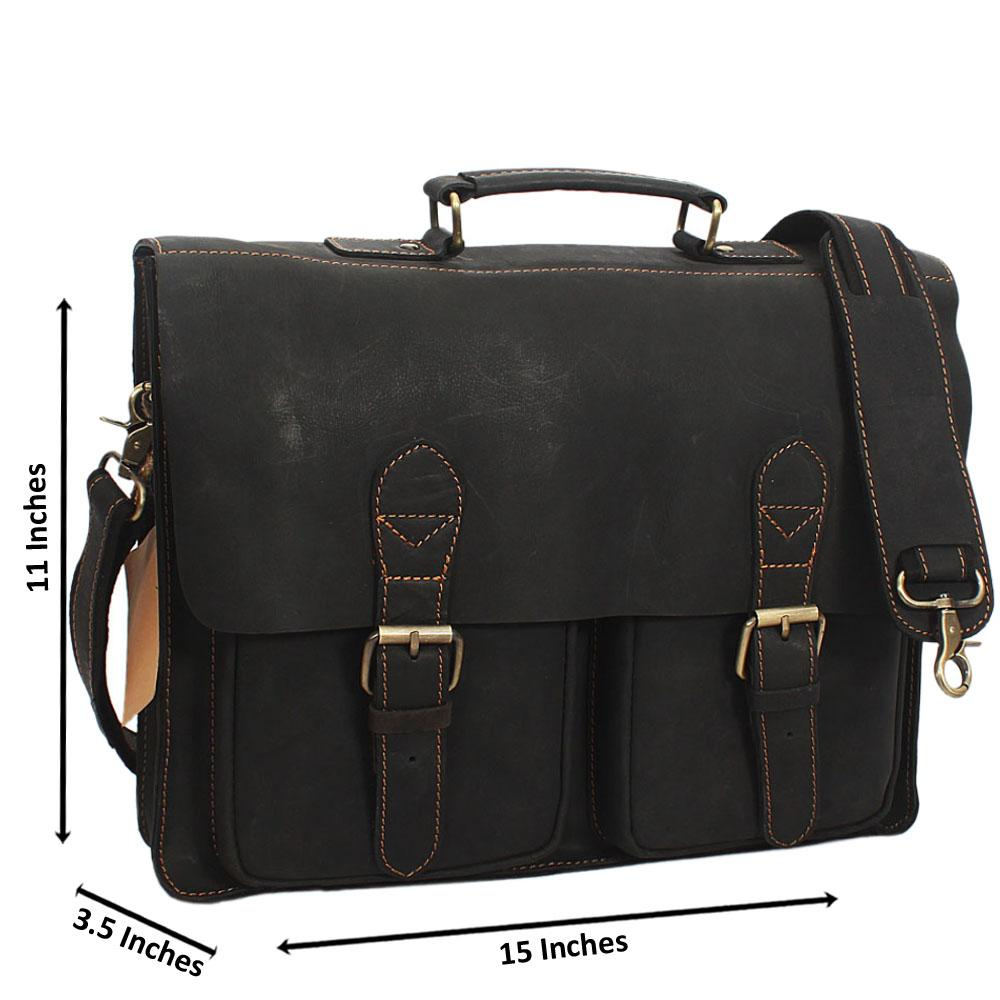 Black Distressed Leather Briefcase