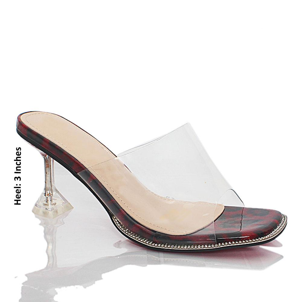 Wine Black Crystals Studded Transparent Leather Mules