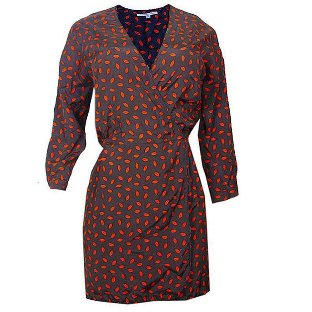 Black-Orange Spot Ladies Dress-UK 14