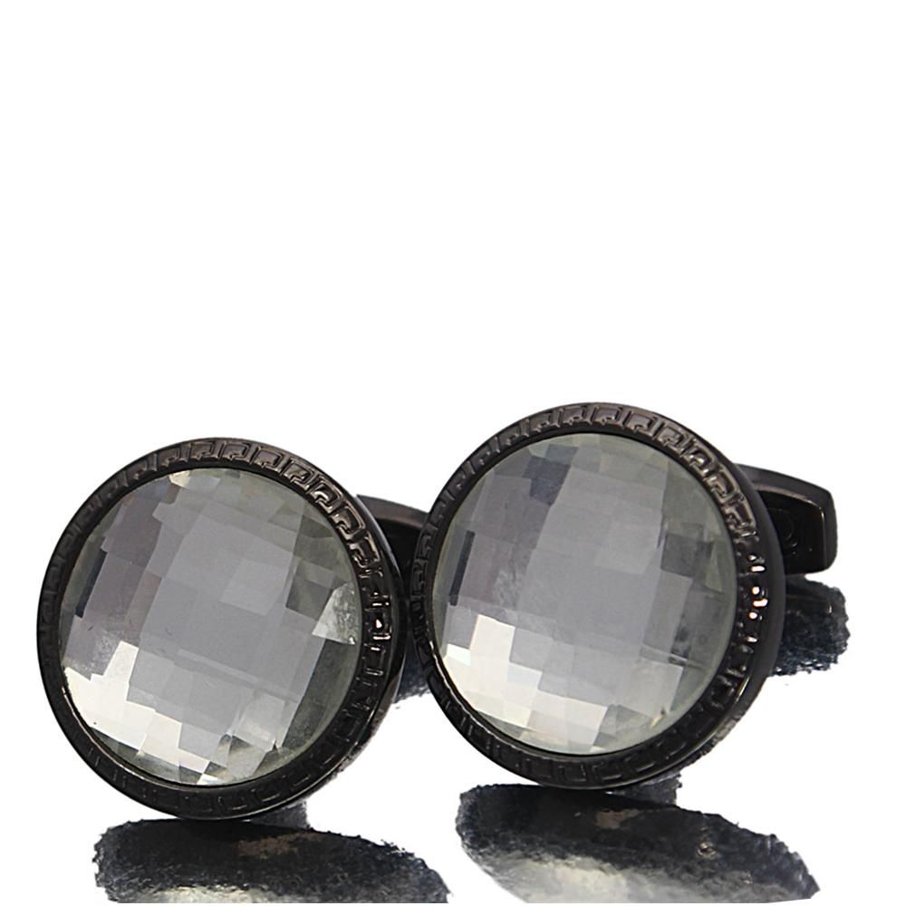 Black White Gemstone Stainless Steel Cufflinks