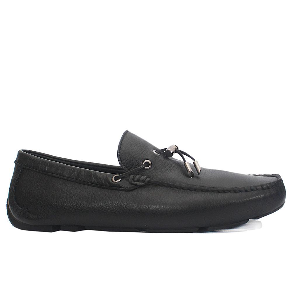 Black Floter Italian Leather Drivers Shoes