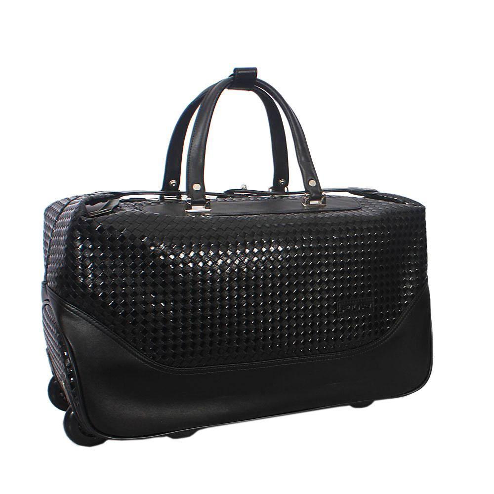 Black Woven Style Leather Trolley Duffel Bag