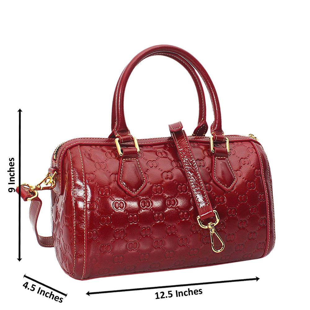 Elle Wine Croc Cowhide Leather Small Boston Handbag