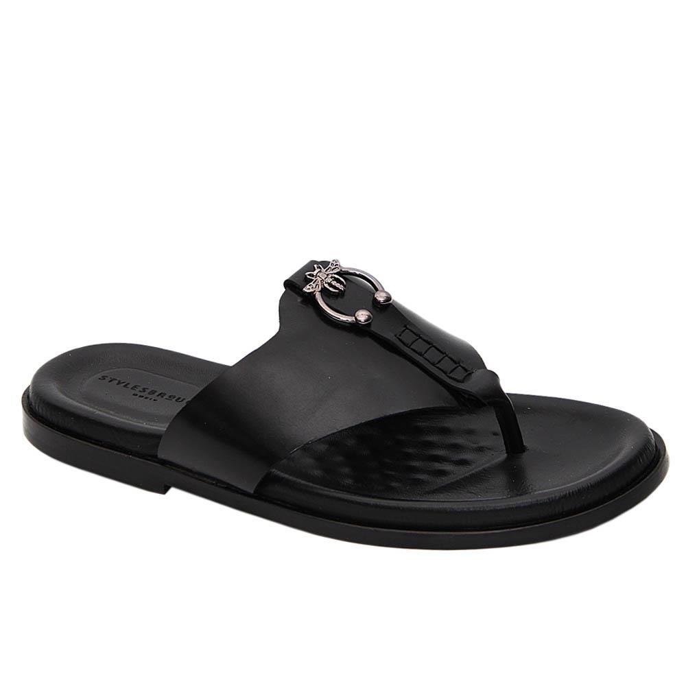 Black Javier Italian Leather Slippers