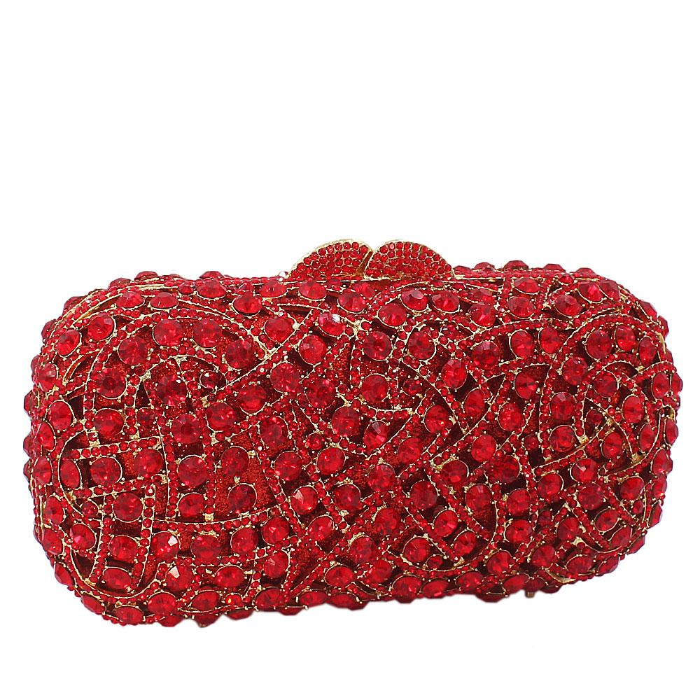 Red Gold Diamante Crystals Clutch Purse