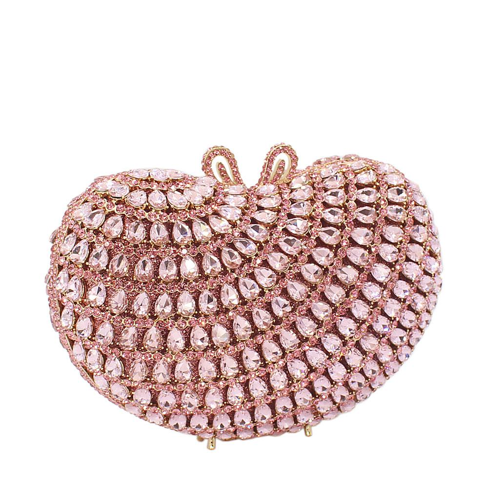 Pink Ice Diamante Crystals Clutch Purse