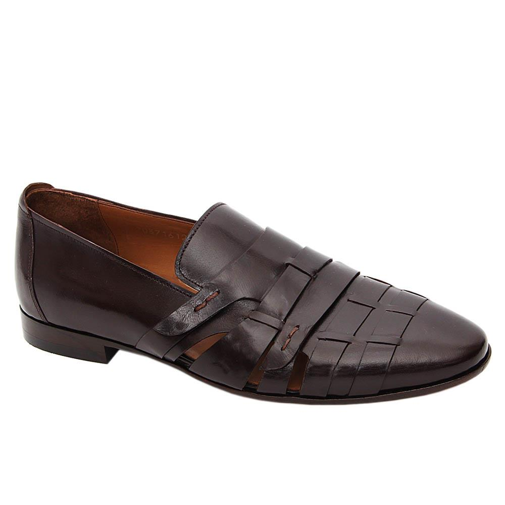 Coffee Lambert Italian Leather Cut-Out Pattern Loafers