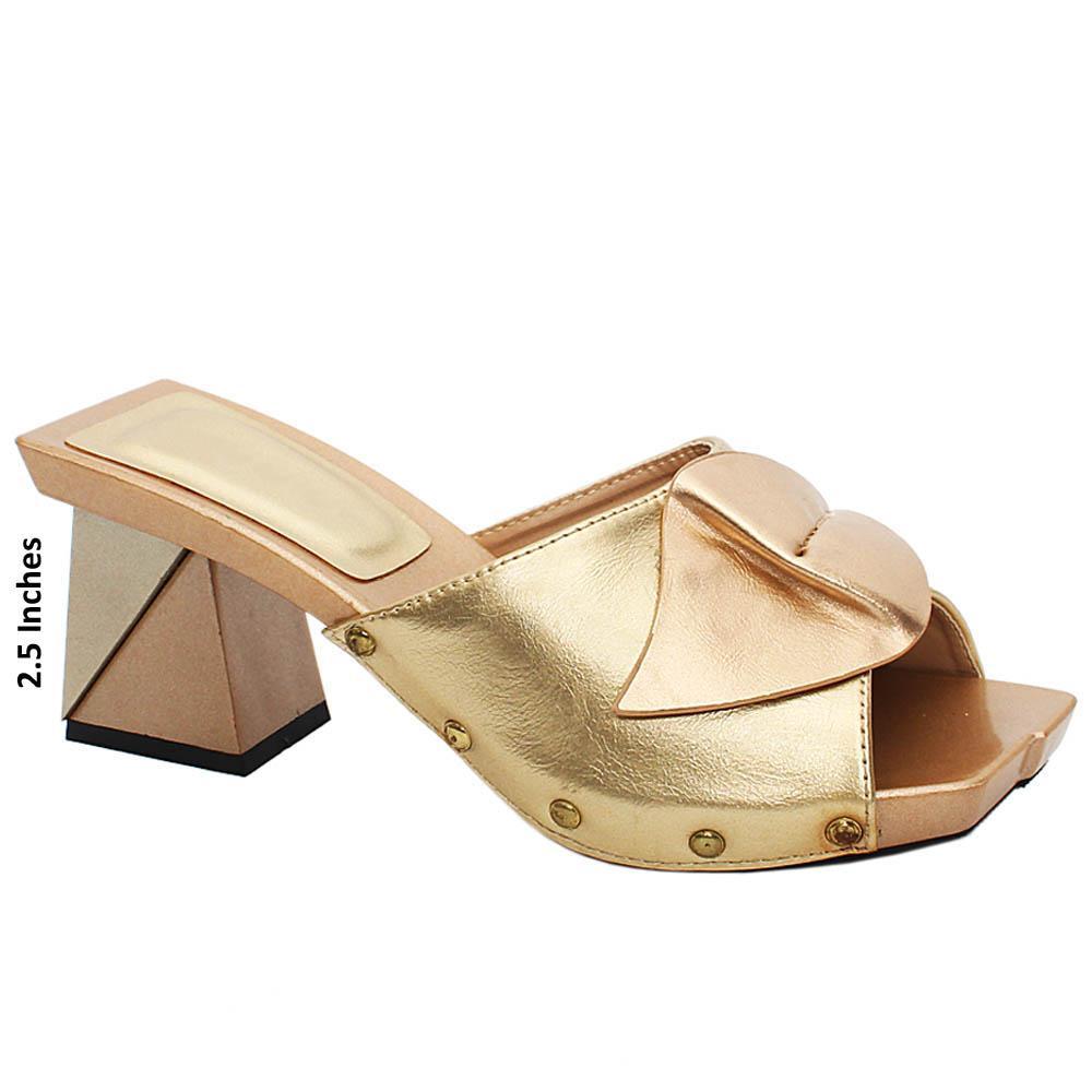 Gold Jeanne Leather Medium Mule Heels