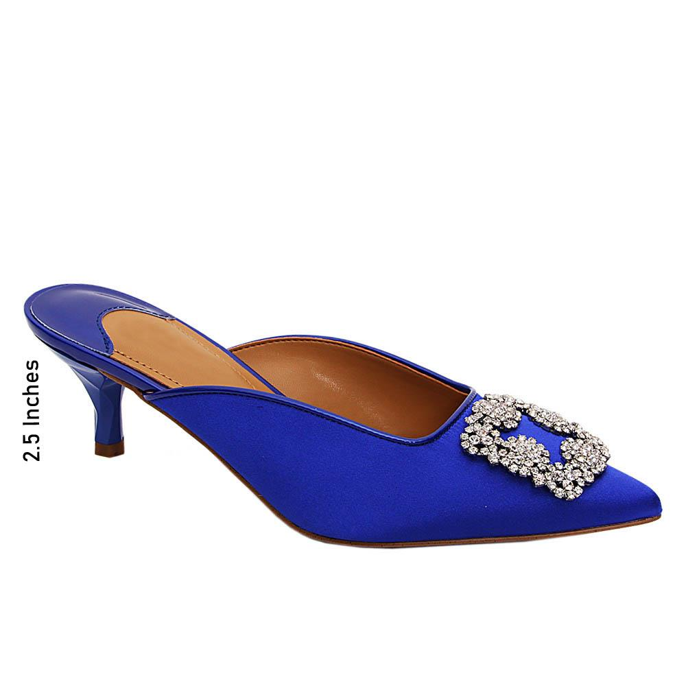Blue Charlotte Satin Fabric Mid Heel Half Pumps