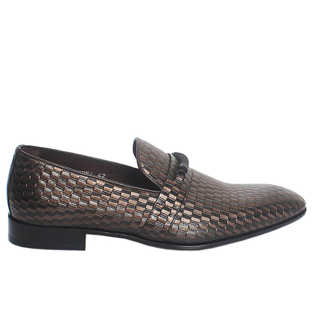 Bronze Embossed Italian Leather Loafers