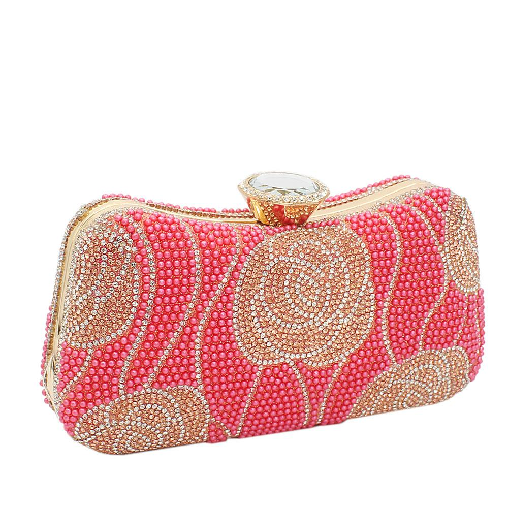 Coral Peach Elsa Full Studded Clutch Purse
