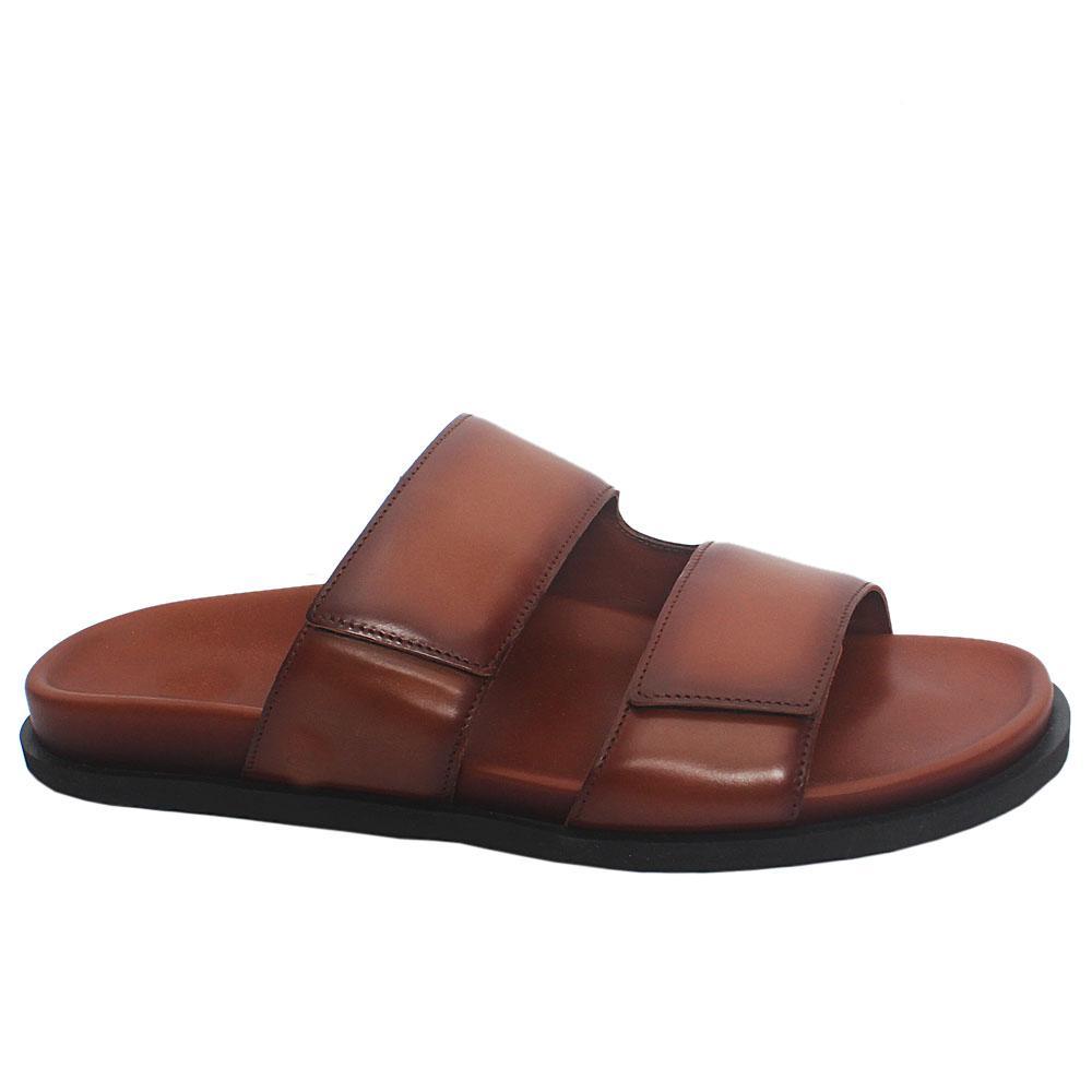 Brown ADL Mendez Patina Leather Men Slippers