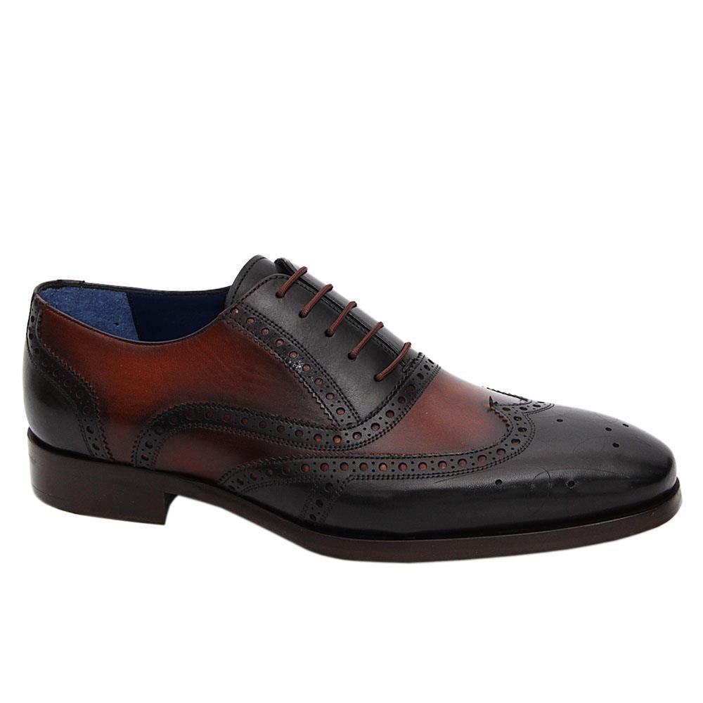 Brown Black Francesco Italian Leather Brogue Oxford Shoe