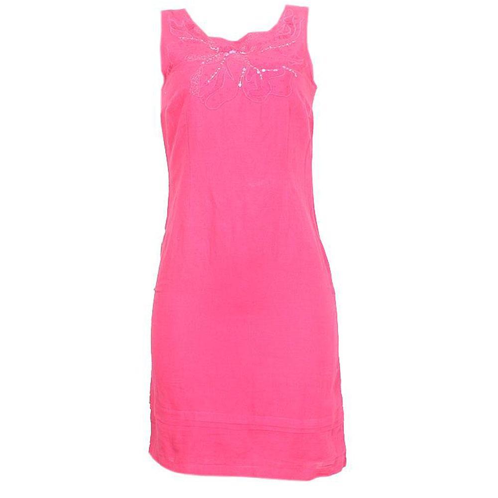 Pink Cotton Ladies ArmlesDress-UK8