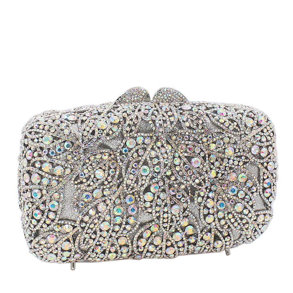 Silver-Diamante-Crystals-Clutch-Purse