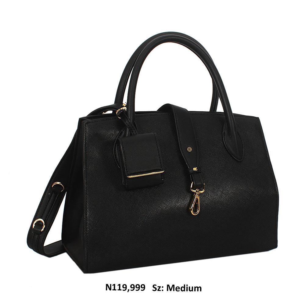 Luna Daisy Premium Black Saffiano Leather Tote Handbag