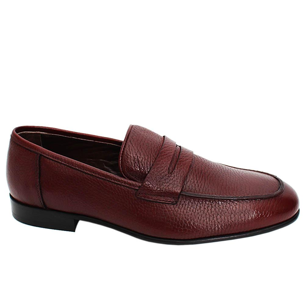 Wine Logan Leather Men Penny Loafers