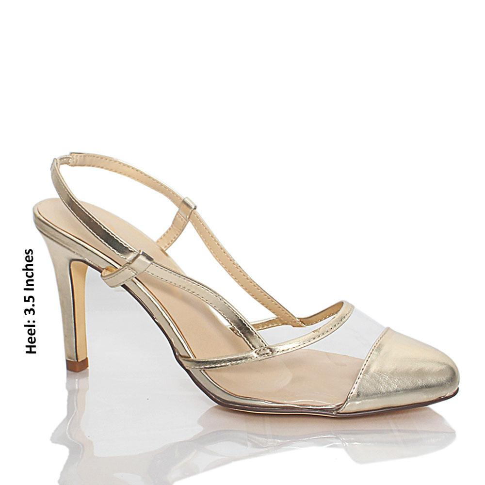 Gold Transparent Rubber Leather Heel