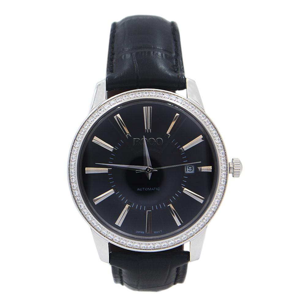 Javier Round studded Black Leather Automatic Classic Watch