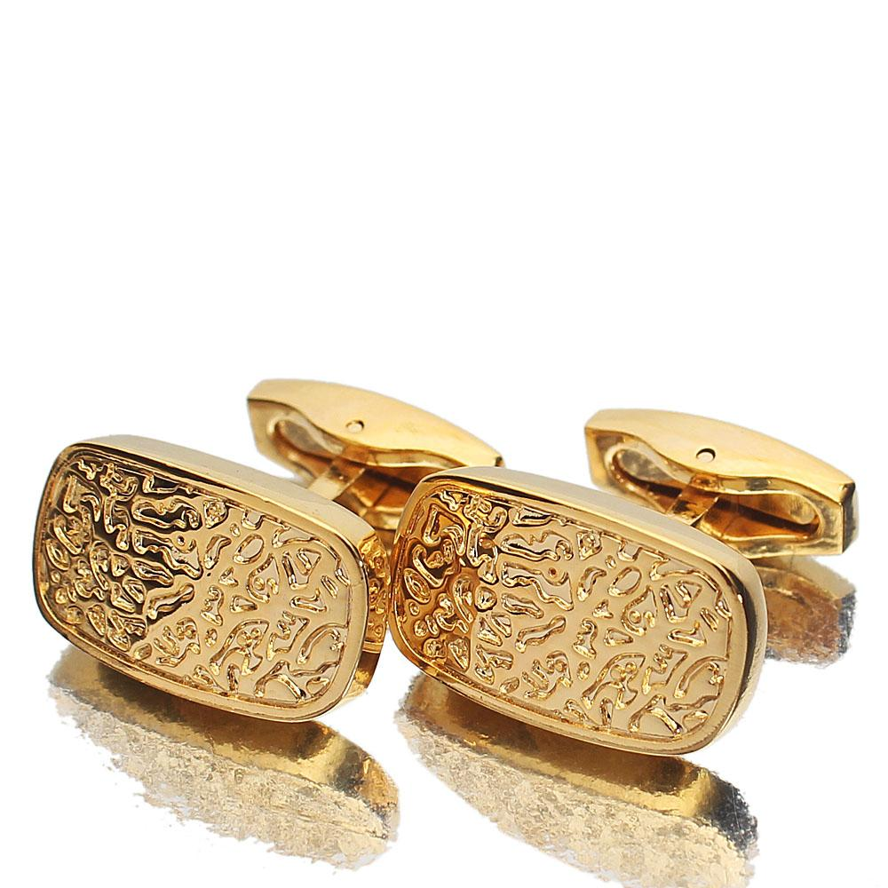 Gold Etched Stainless Steel Cufflinks