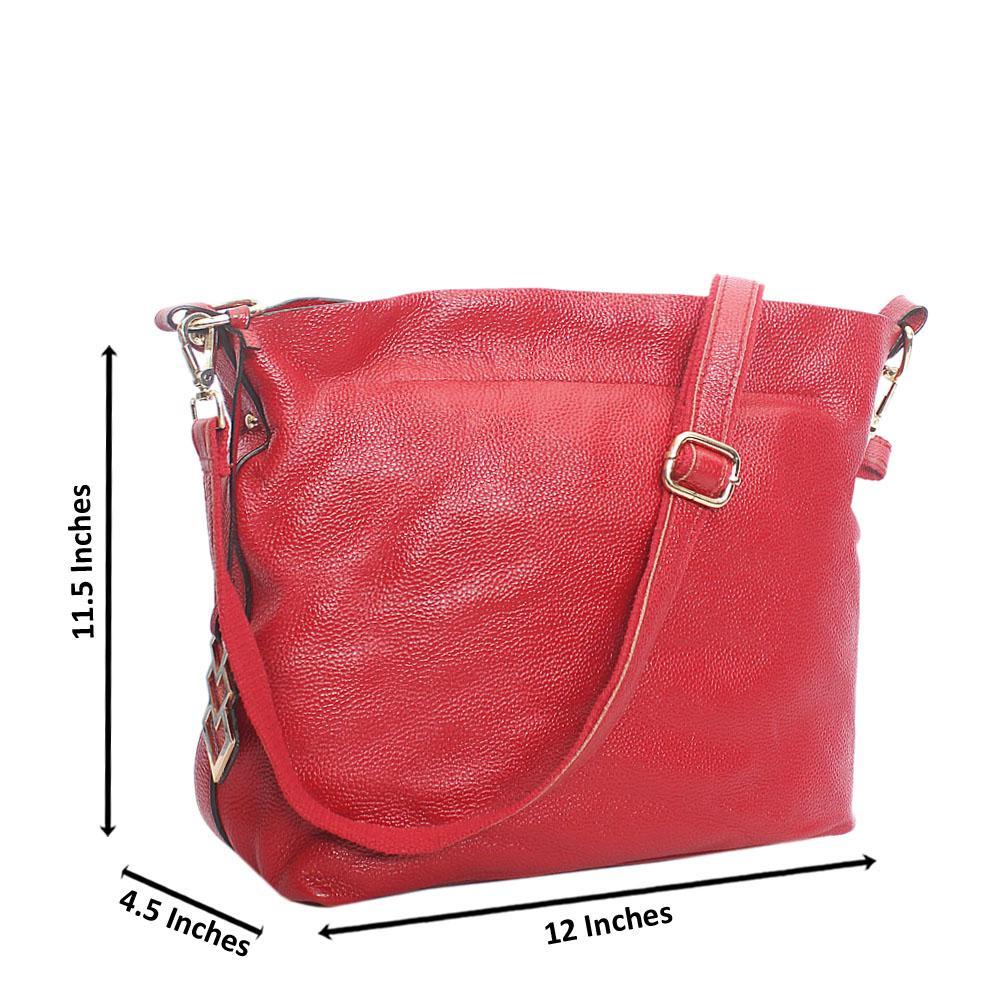 Red Aussie Leather Shoulder Handbag