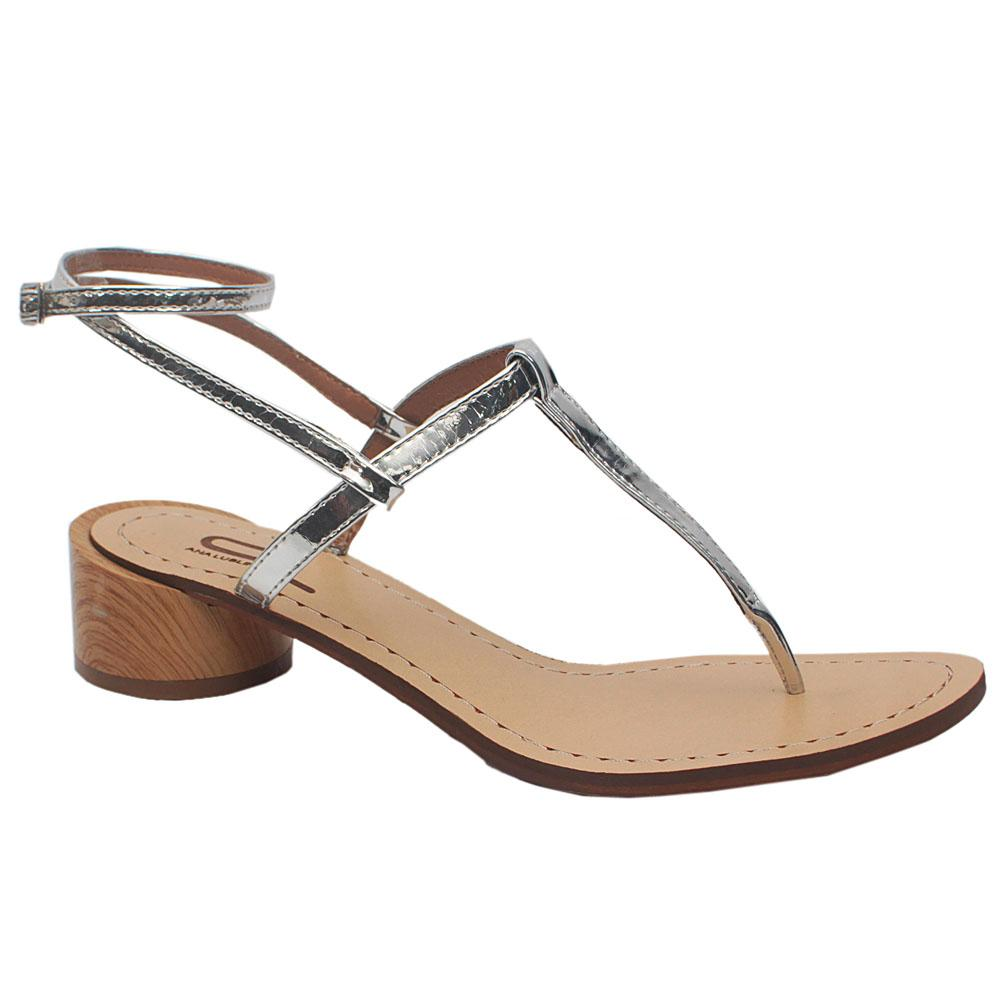 Silver Ana Violetta Leather Flat Sandals
