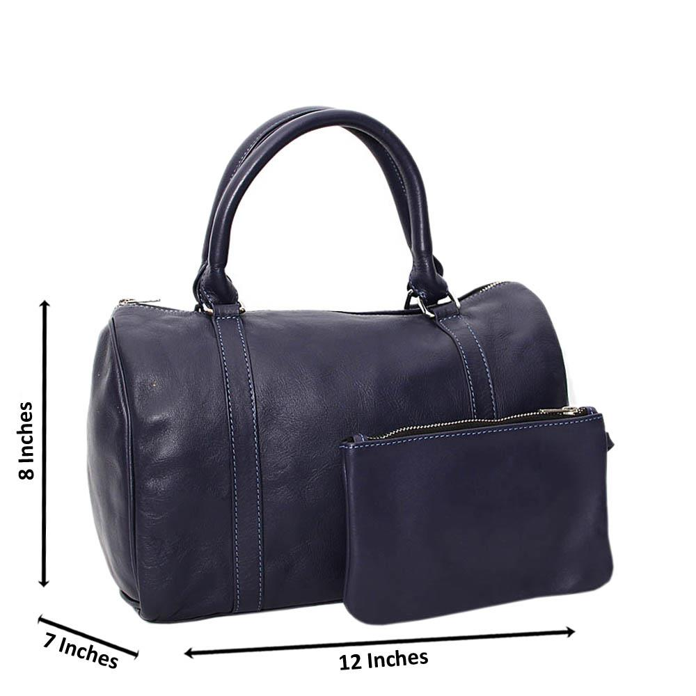 Navy Casiana Cowhide Leather Medium Duffle Handbag