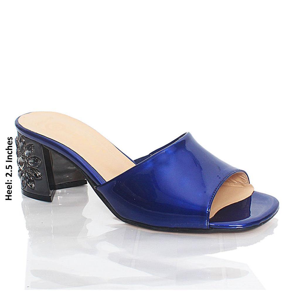 Blue Luisa Patent Italian Leather Mule