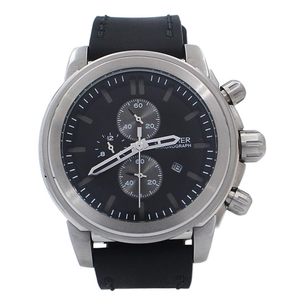 Big Bang Silver Steel Black Leather Submarine Chronograph Watch