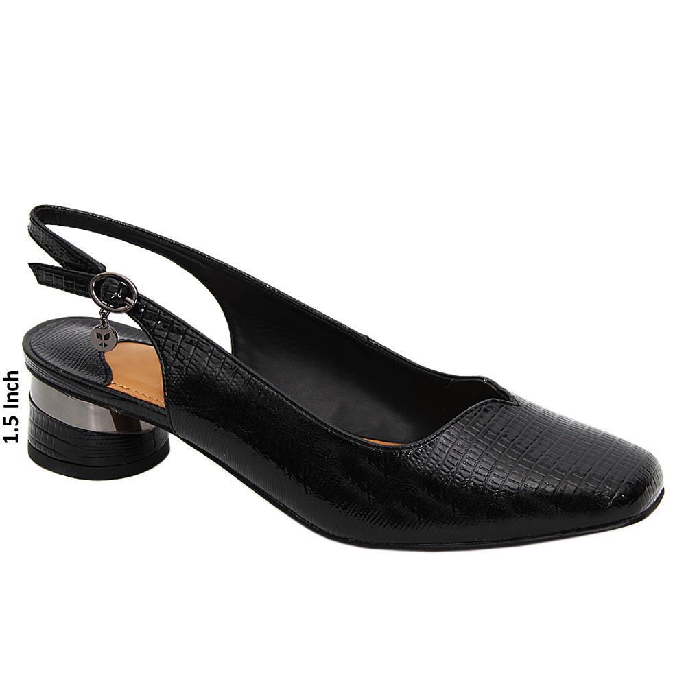 Black Bella Patent Leather Low Heel Slingback Pumps