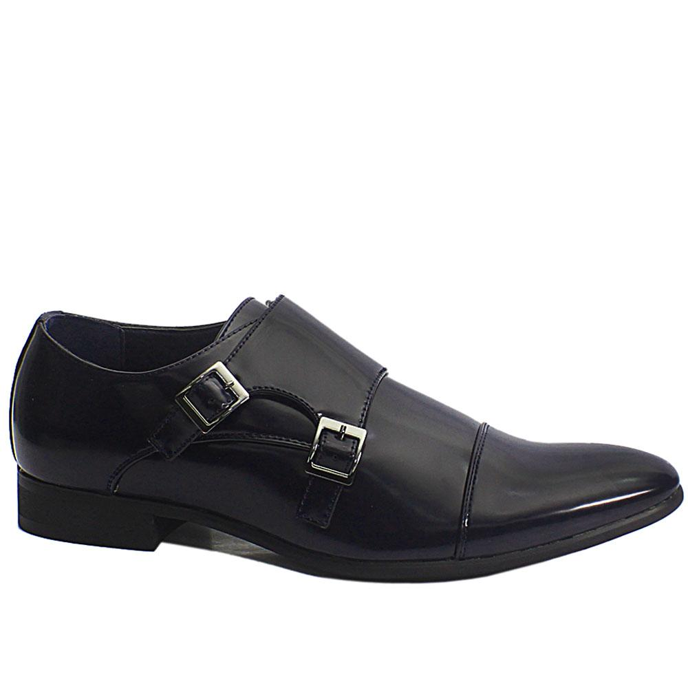Navy James Patent Leather Double Monk Strap Men Shoe