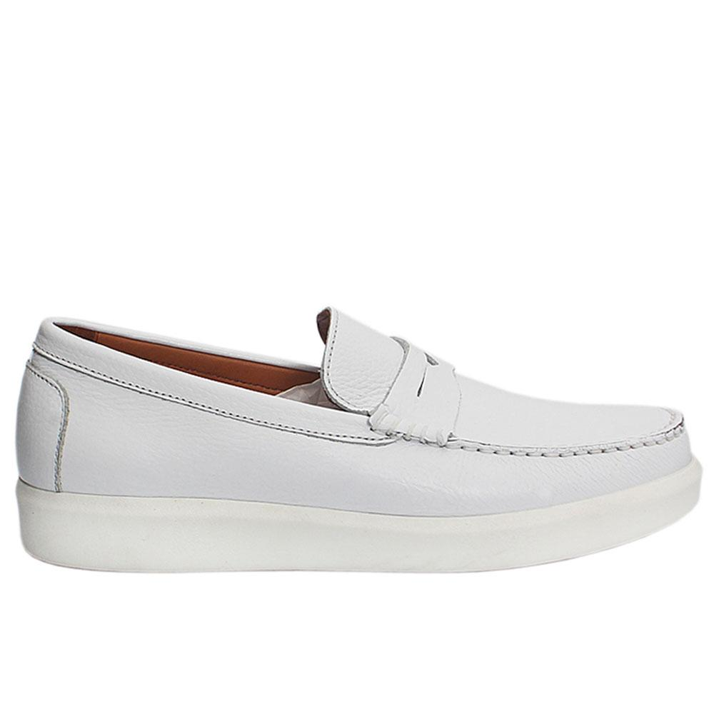 White Chris Italian Leather Slip On Loafers