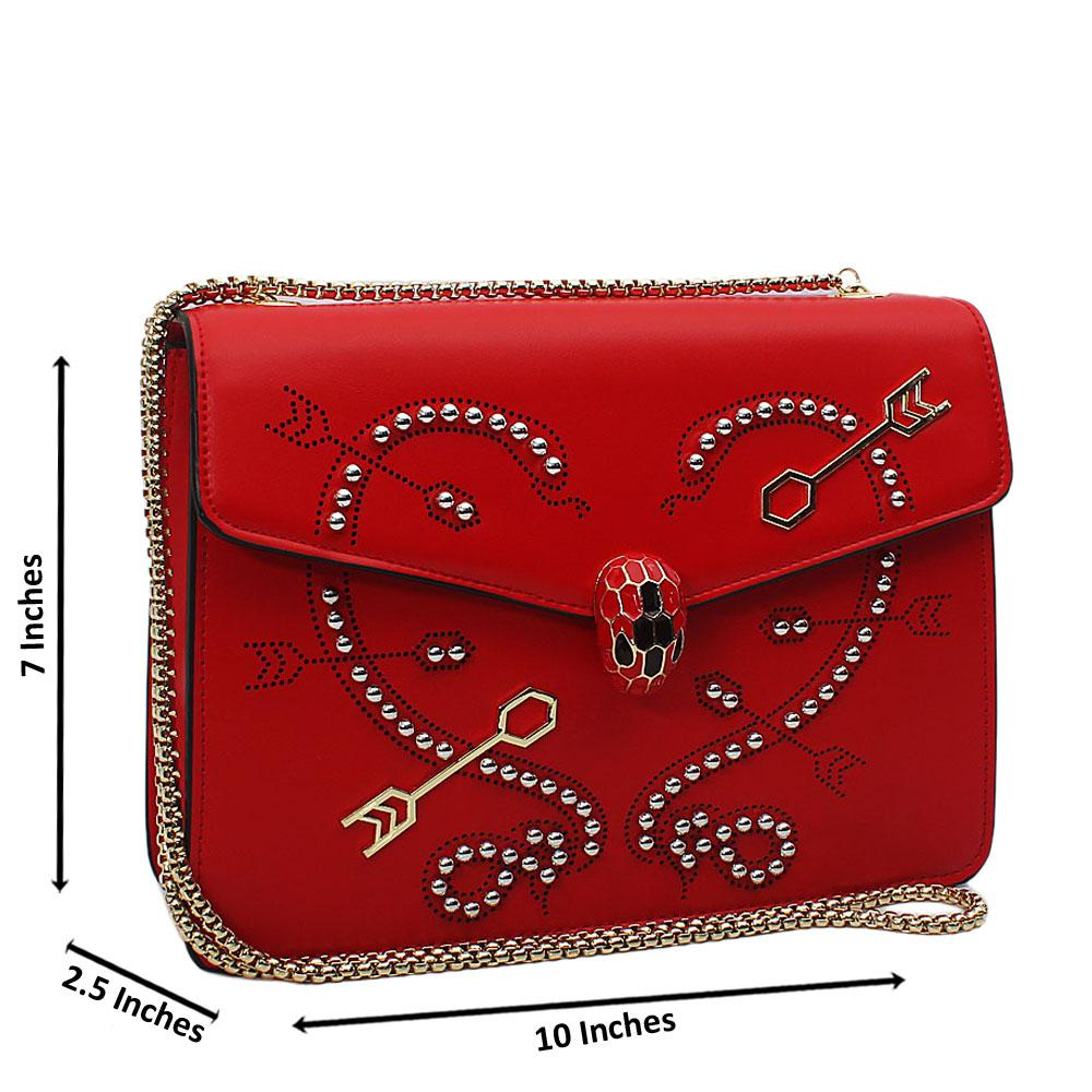Red Silver Studded Etched Tuscany Leather Chain Crossbody Handbag