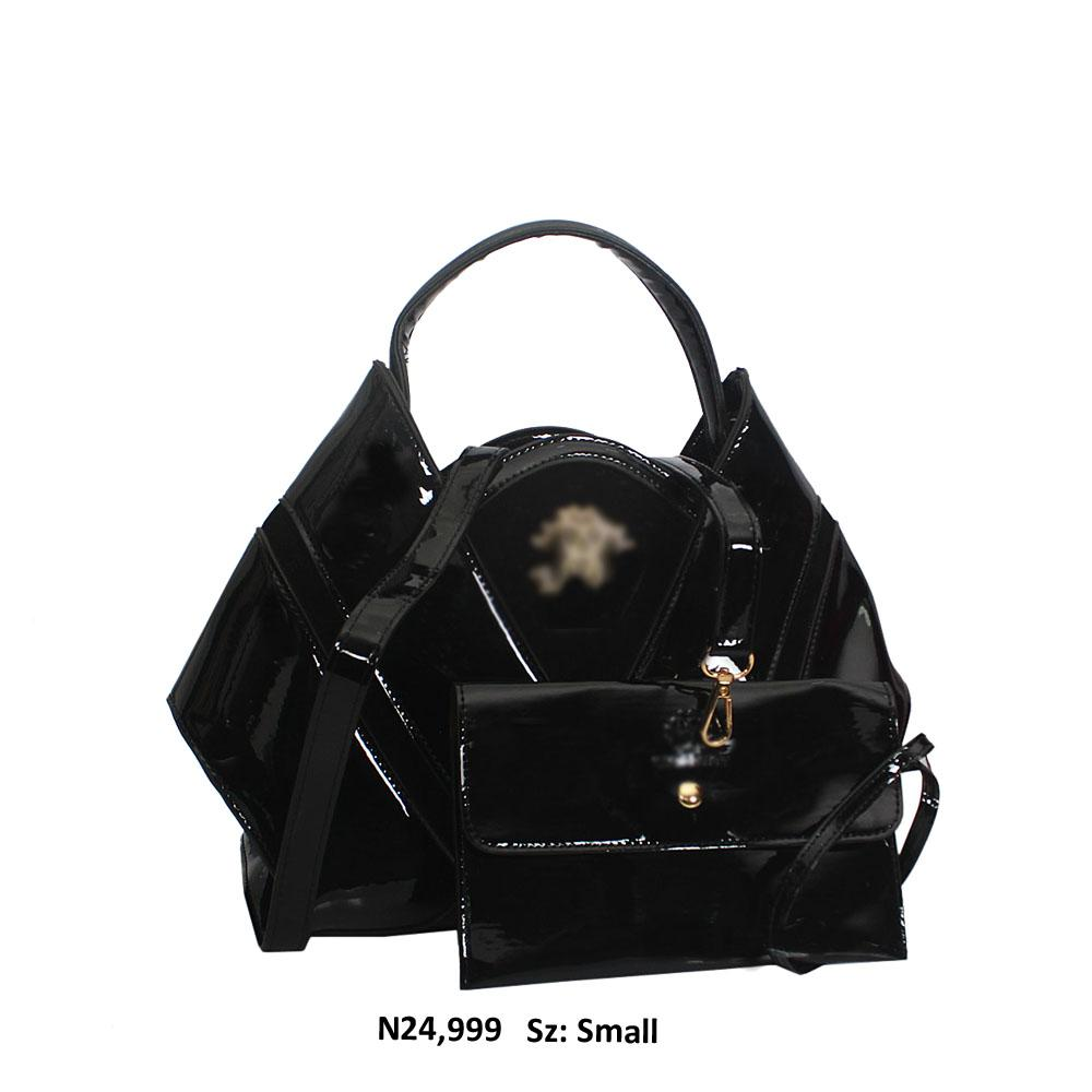 Small Black Patent Suede Leather Top Handle Handbag