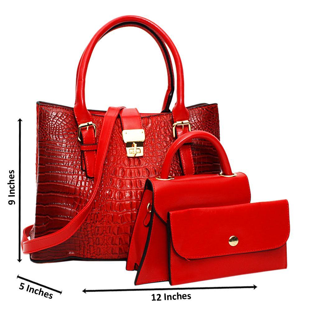 Red Venus Croc Leather Medium 3 in 1 Tote Handbag