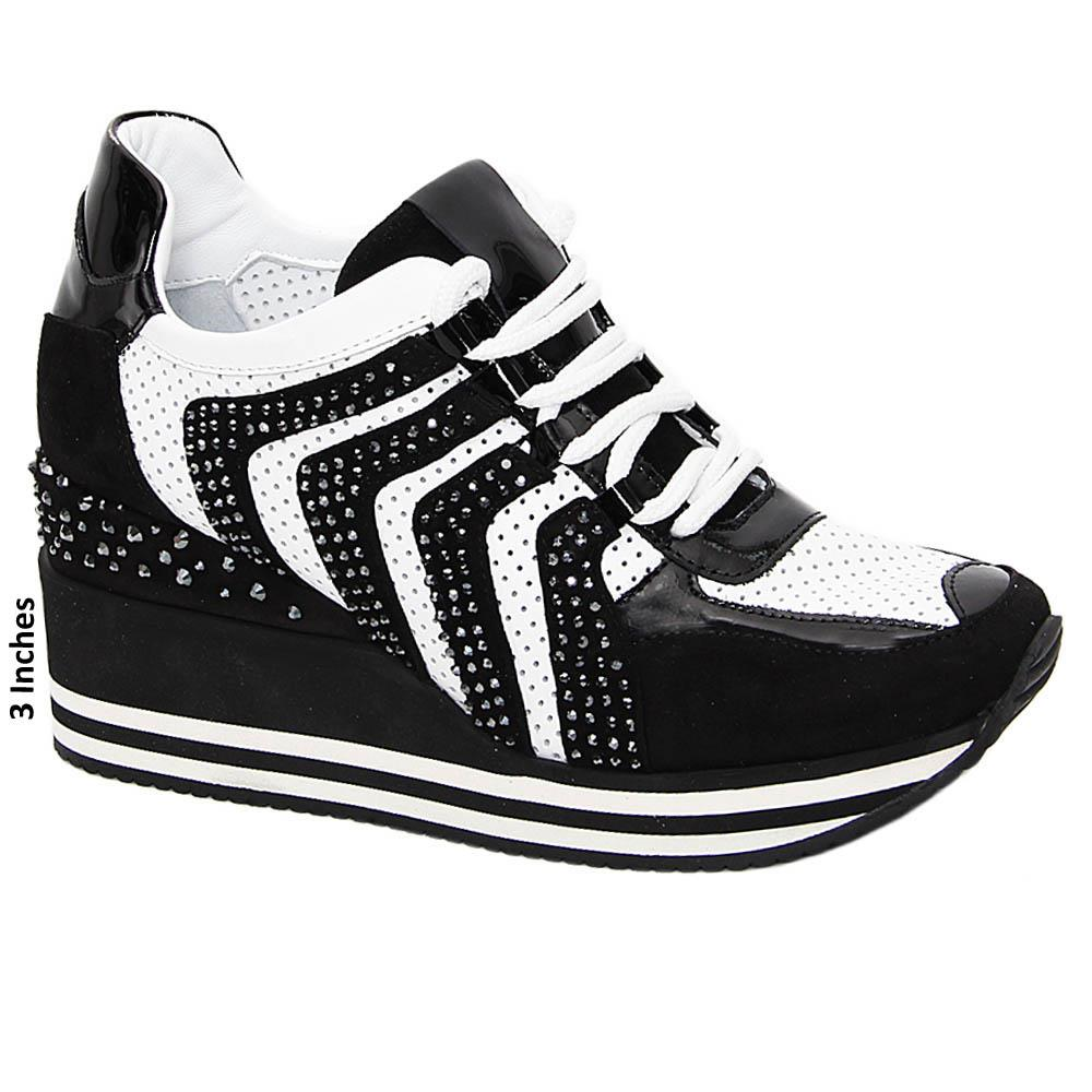 Black White April Studded Suede Tuscany Leather Wedge Sneakers